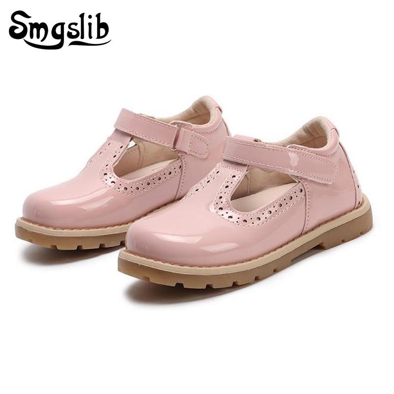 Crianças sapatos princesa meninas sapatos de escola vermelho rosa preto crianças vestido de festa de couro plana meninas sapatos bebê casual sneaker