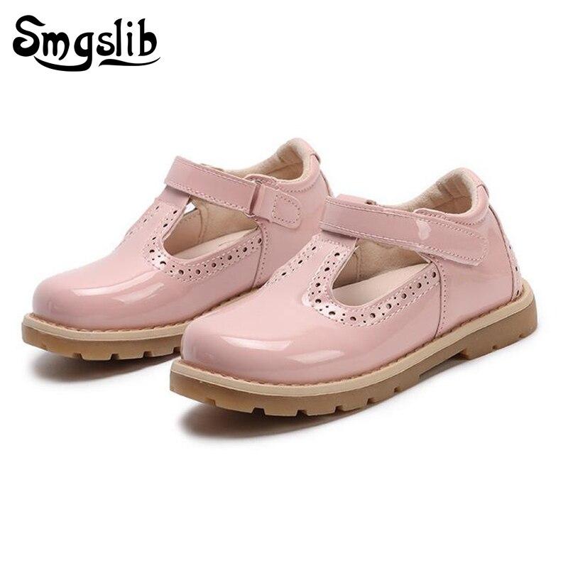 Zapatos para niños princesa niñas zapatos escolares rojo rosa negro niños vestido de fiesta de cuero plano niñas Zapatos Bebé zapatillas Casuales