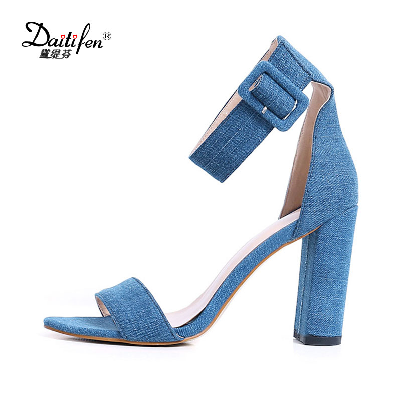Daitifen New Buckle Ankle Strap Sandals Blue Denim Women Sandals Sexy Block Heels Women Dress Shoes Open Toe High Heels Pumps мойка высокого давления sturm pw9219