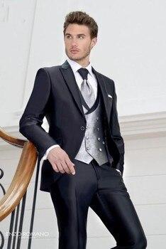 New Style Groom Tuxedo Shiny Black Groomsmen Peak Lapel Wedding/Dinner Suits Best Man Bridegroom (Jacket+Pants+Tie+Vest) B544
