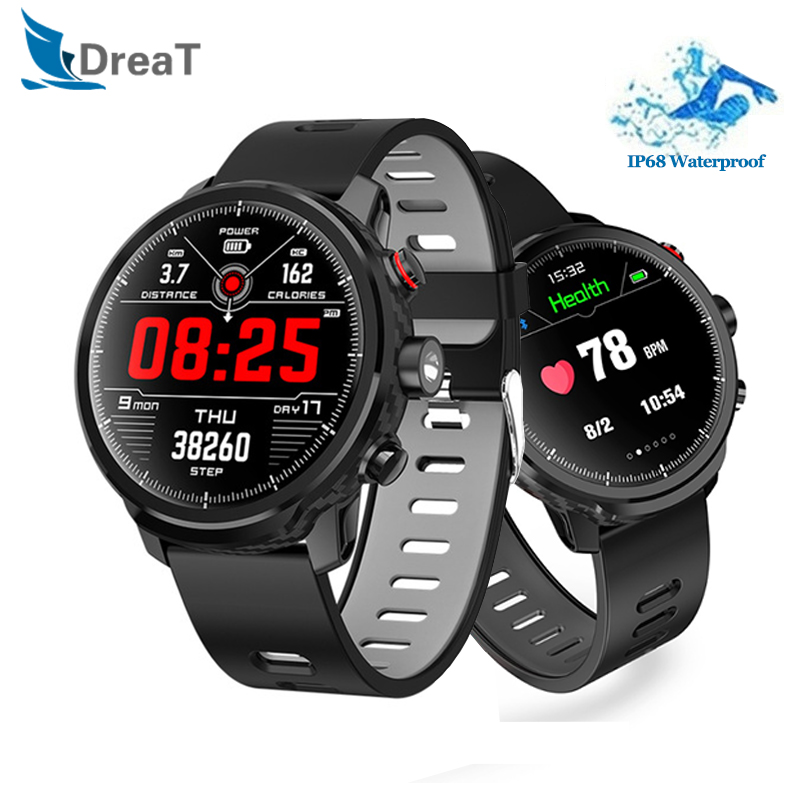 L5 1.3 inch Smart Watch IP68 Waterproof Sports Pedometer Heart Rate Monitoring Weather Forecast Smartwatch Standby for 100 days
