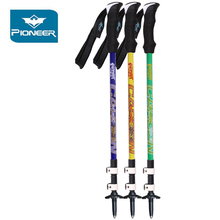 Pioneer Hiking Poles Ultralight Ski Trekking Poles Carbon Fiber Climbing Canes Quick Flip Lock Telescopic Stick Walking Sticks
