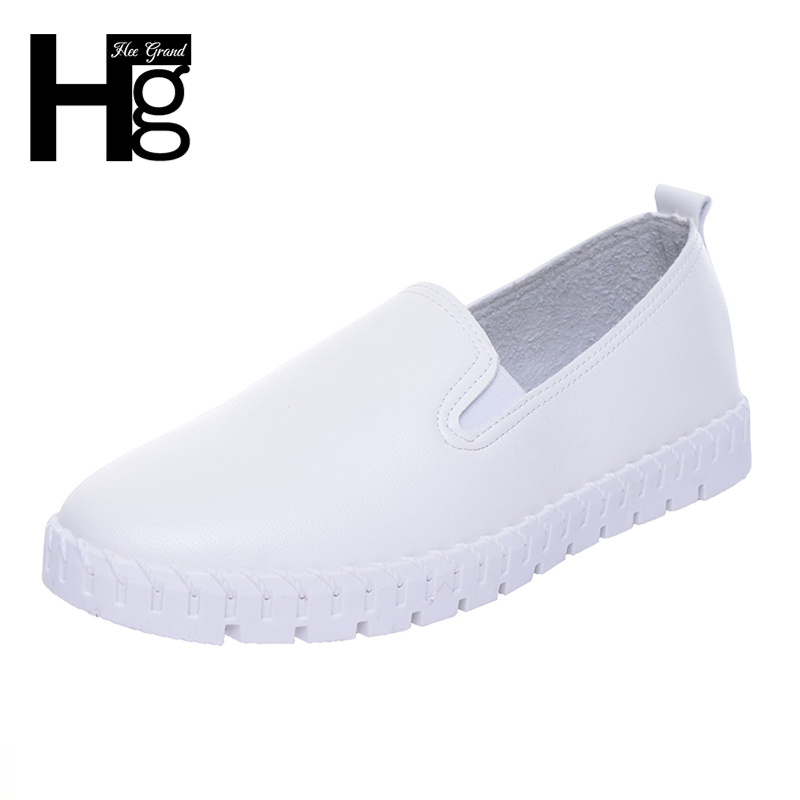 HEE GRAND Women Casual Flats 2017 Cut outs PU Leather 2 Style Shoes Black White Spring Autumn Platform Girls Shoes Woman XWC1194 hee grand casual women s sandals 2017 silver creepers platform summer shoes woman flats pink casual women shoes xwz3886