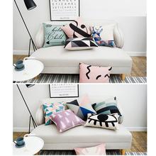 Sweetenlife różowy poduszki Home Decor geometryczne 45 CM 50 CM Nordic styl sofa dekoracyjna poduszki kreatywny dekoracyjne rzucać poduszkami tanie tanio Zdejmować i prać Zwykły Dorosłych Cusion Tkane Drukowane GEOMETRIC Plac Seat 45cm*45cm Inne Not include pillow core