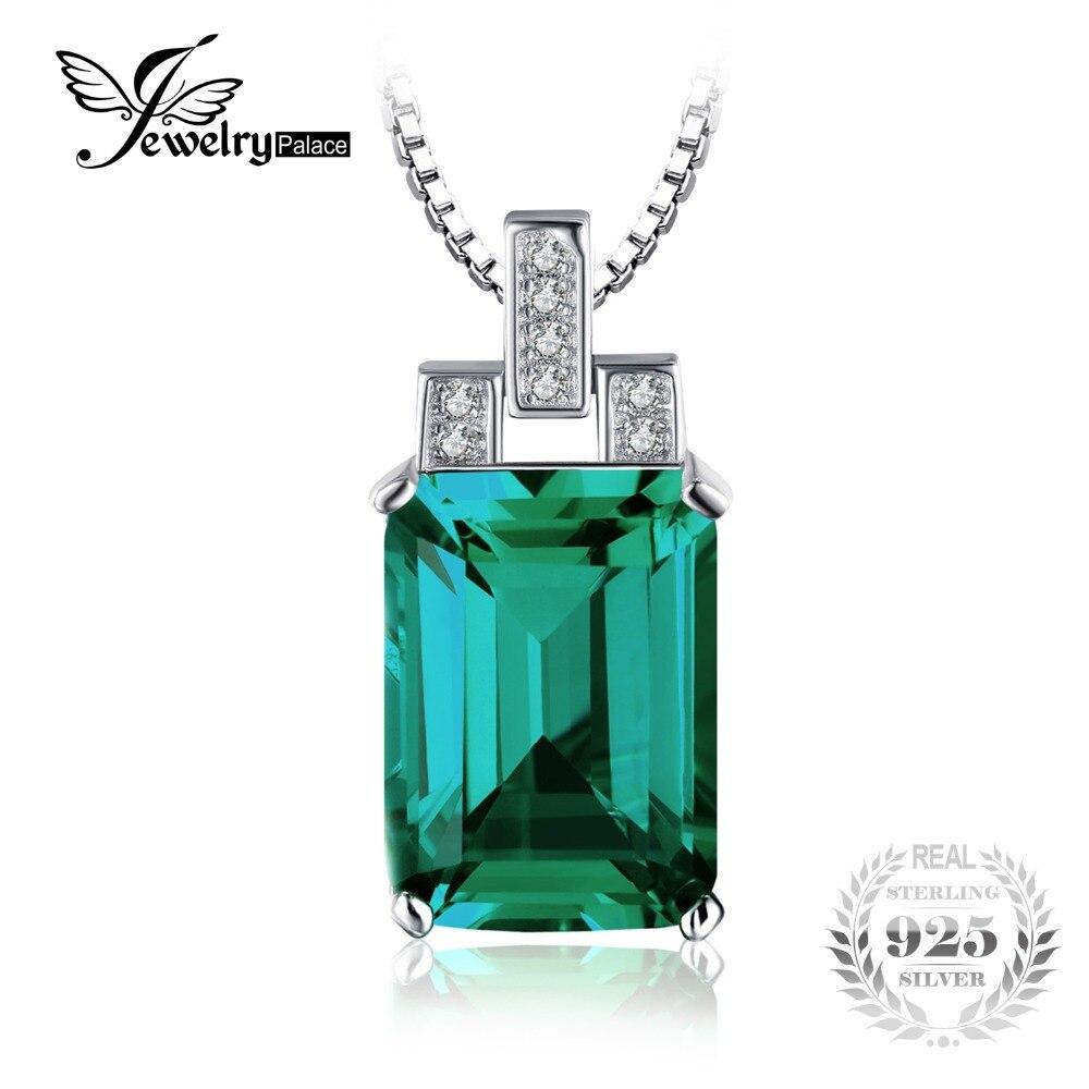 Luxury 6 51ct Nano Russian Emerald Pendant Fashion Women Gift 925 Solid Sterling Silver Jewelry 2015