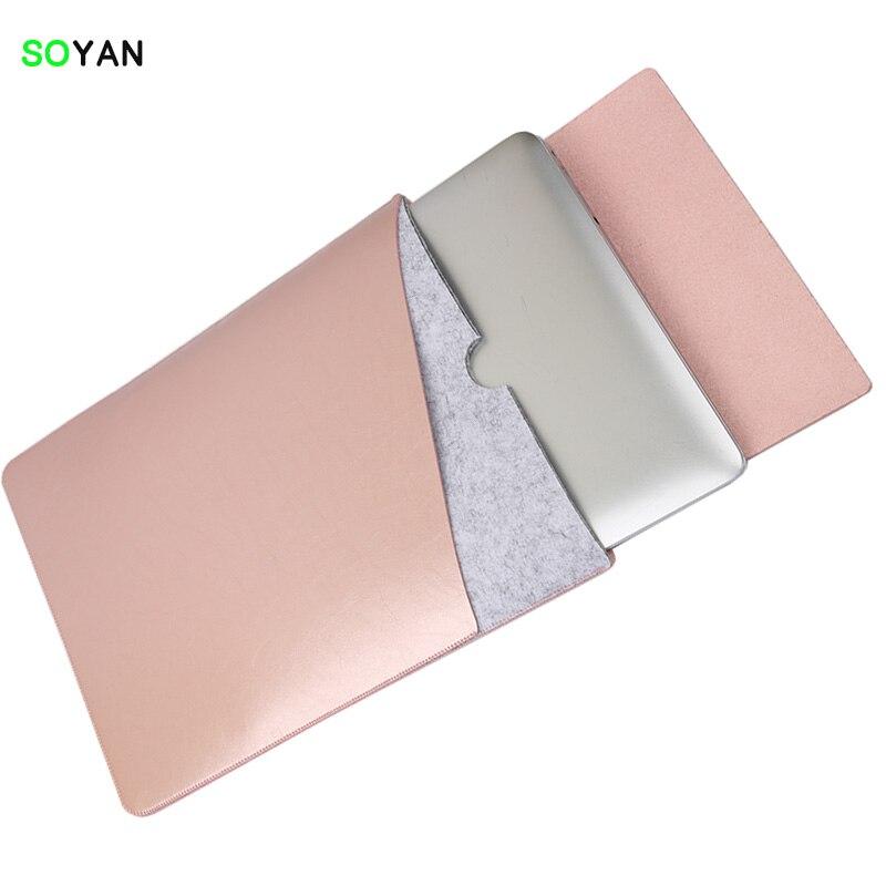 """""""MacBook Pro Retina & Air"""" nešiojamojo kompiuterio krepšio dėklas, minkšta odinė rankovė 12 13 15 Dviguba kišenė su saugiu vidiniu ir išoriniu pelės kilimėliu"""