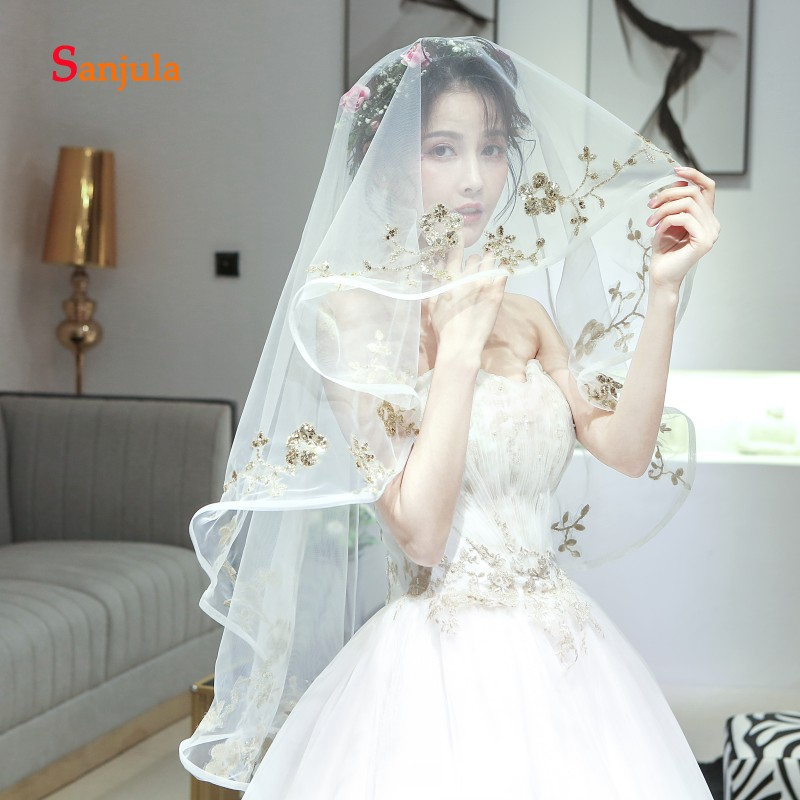 Ribbon Edge One Layer Wedding Veils For Bridal Sequins Appliques Special Bridal Veil 1.5 Meters Accessories For Wedding V115