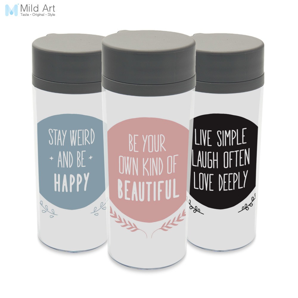 Plastic Insulated Minimalist Smile Quotes Kids Cute Water
