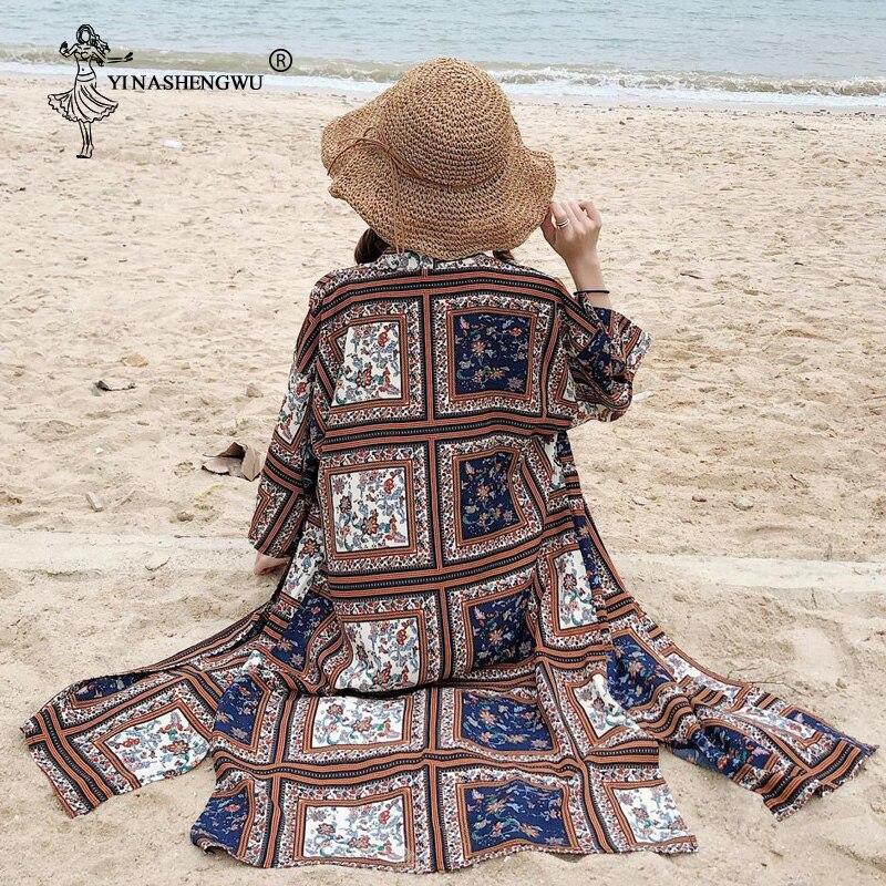 Kimono Japan Street Beachwear Kimono Thin Print Long Women Top Japan Kimono Cardigan Yukata Leisure Travel Thin Holiday Blouses