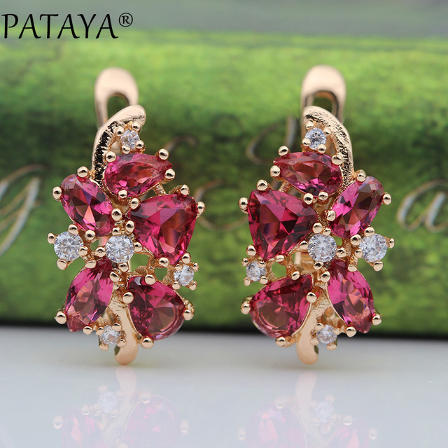 PATAYA 828 Promotion New Blue Water Drop Earrings Women Fashion Exclusive Design Jewelry 585 Rose Gold Natural Zircon Earrings