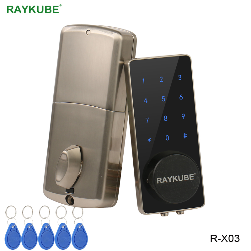 RAYKUBE Electronic Door Lock Touch Screen Digital Password Mifare 13 56Mhz IC Card Opening Keyless Entry