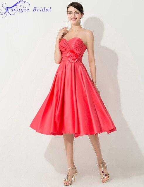 3b344c9670a93 Sweetheart Coral Colored Bridesmaid Dresses Cheap Tea Length Bridesmaid  Dress Robe Demoiselle D'honneur