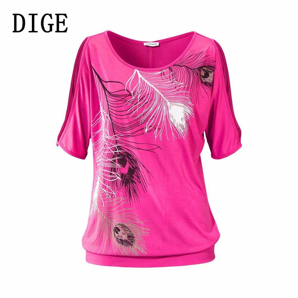 2019 الصيف النساء ريشة المطبوعة القمصان س الرقبة حمالة قميص معطلة الكتف قصيرة الأكمام تي شيرت فضفاض نوع s-2xl b0203