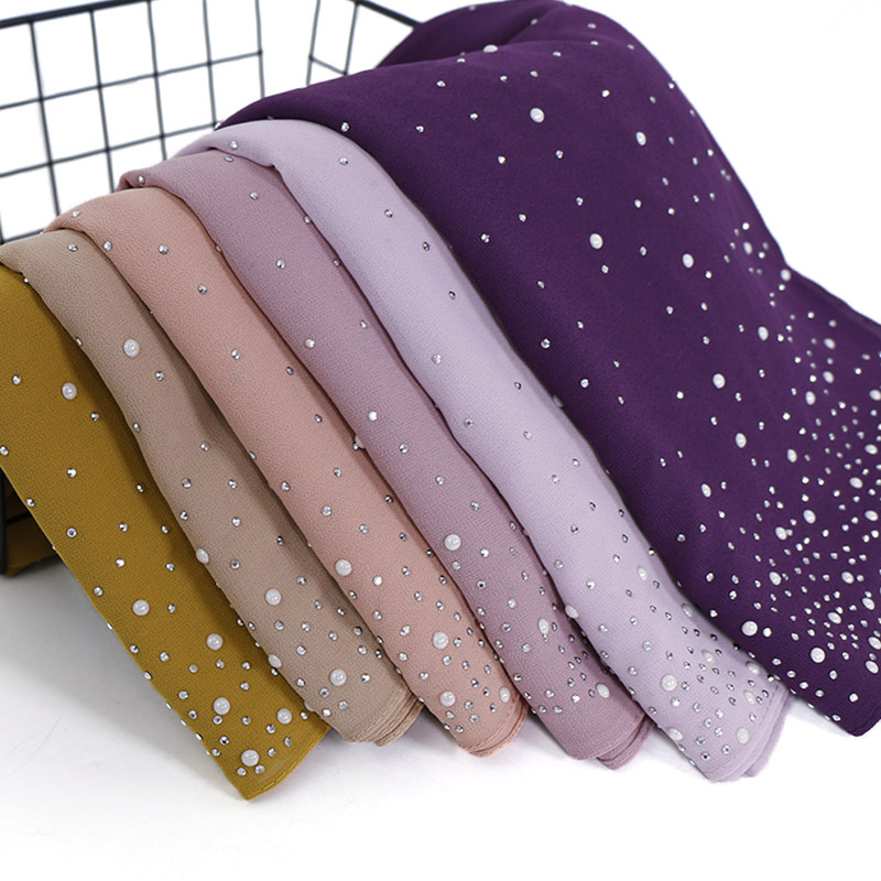 10pcs/lot Women Plain Bubbles Chiffon Hijab Scarf Diamond Studs Pearls Scarves Hijab Shawls Wraps Solid Color Muslim Hijab Scarf(China)