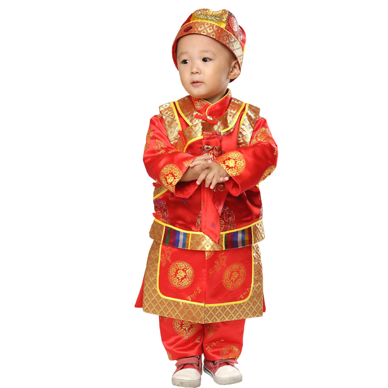 fb78d0caee65 Cotton 3pcs New Year Clothing Set for Baby Boys Long Sleeve Gown+Vest+Hat Boy  Children s Tang Suit Chinese Traditional Costumes-in Clothing Sets from  Mother ...