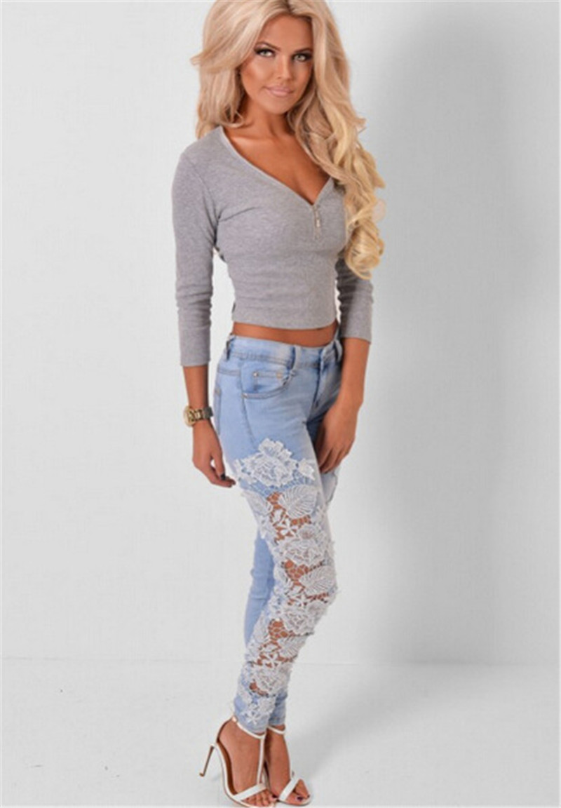Aliexpress.com : Buy Sexy Women's Denim Light Blue Skinny Jeans ...