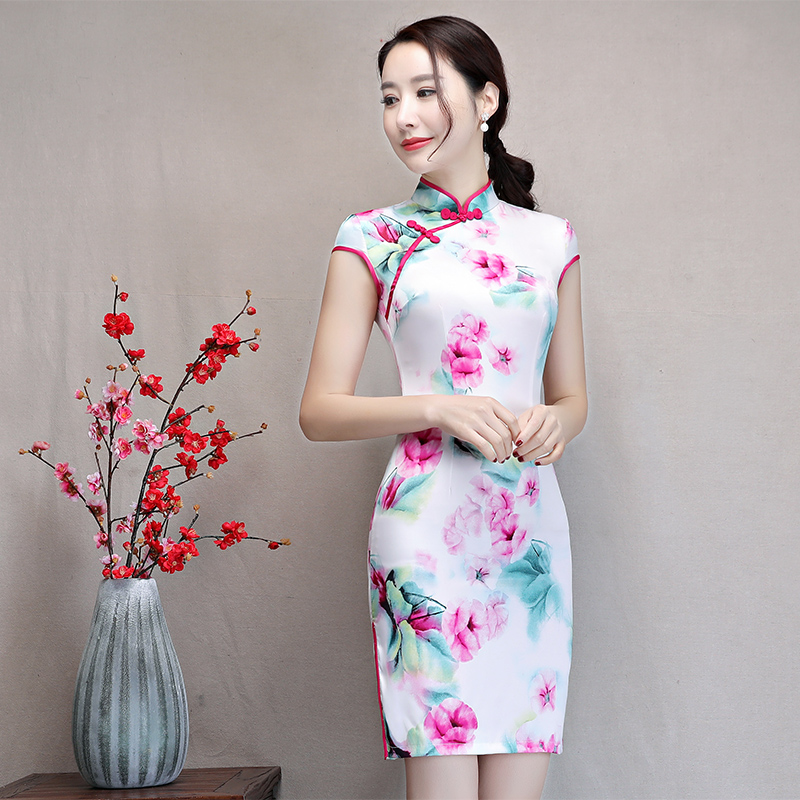 New Arrival Women's Satin Mini Cheongsam Fashion Chinese Style Dress Elegant Slim Qipao Clothing Size S M L XL XXL 368483 23