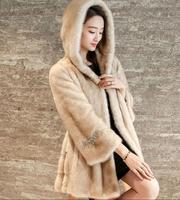 2017 Luxury Faux Fur Women S Jackets Winter Warm Jacket Mink Cashmere Nine Point Sleeve Hooded