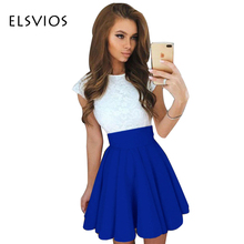 Elsvios летний стиль 6 цвета симпатичные кружева платья 2017 женщины о-образным вырезом линии мини dress моды с коротким рукавом партия dress vestidos
