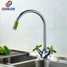 SOGNARE NEW Multicolor Double Handle Kitchen Faucet Mixer Cold and Hot Kitchen Tap Chrome Green White Separation Switch D4203