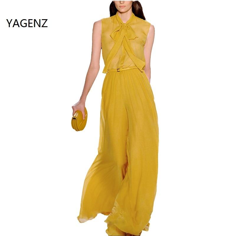 YAGENZ 2017 Summer Women 2 piece set Korean Upscale Sleeveless Chiffon Blouses Tops Shirts and Ankle Length Wide Leg Pants A014