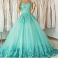 Moda Vestido de Quinceanera Sweetheart Appliques vestido de Bola Barato Vestido de Vestidos de Quinceañera 15 Vestidos Debutante Abendkleider