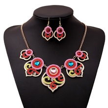 Women Fashion Two-piece Jewelry Alloy Beads Necklace Flower Petal Pendant Necklace Dangle Wedding Jewelry chic rhinestone petal flower necklace for women