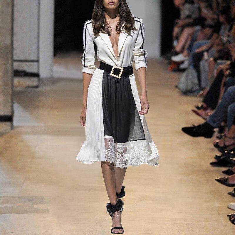 Haute rue nouvelle mode 2019 été Designer robe de piste femmes élégant blanc lettre manches Patchwork dentelle perles ceinture robe