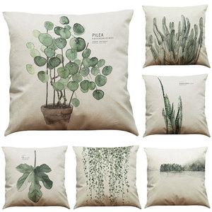 45cm*45cm Cushion cover Fern leaves design linen/cotton pillow case Home decorative pillow cover(China)