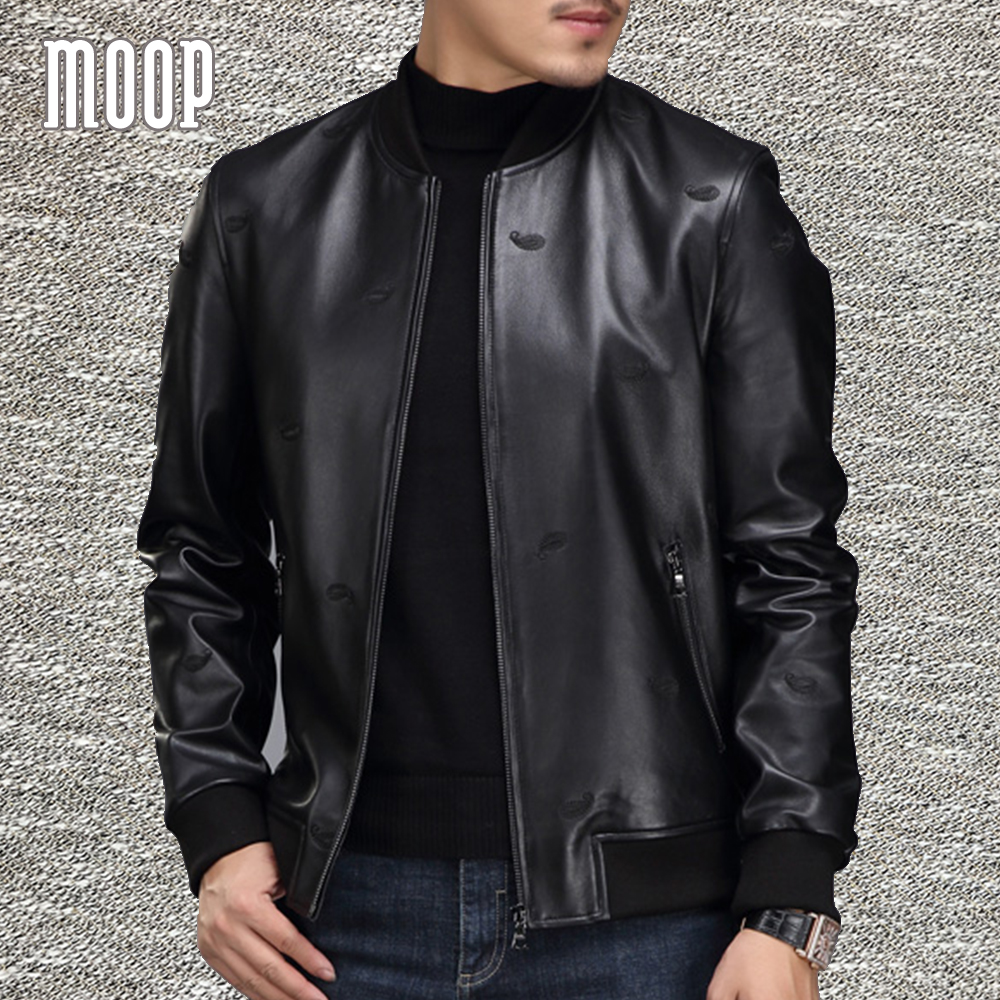 a012151a341 Embroidery design Lambskin genuine leather bomber jacket black ribbed  collar biker jackets manteau homme jaqueta de couro LT1322