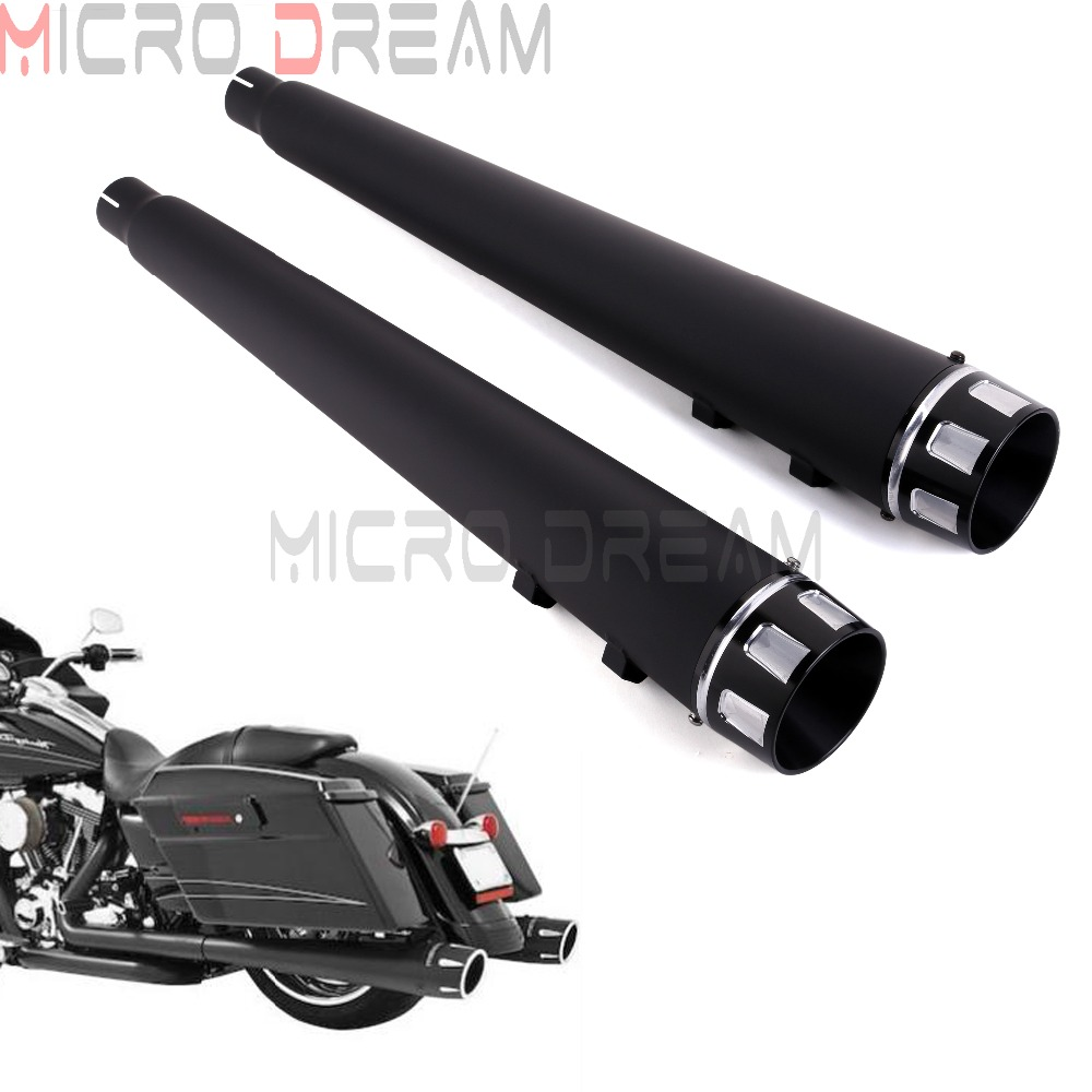 Motorcycle 45mm Slip On Muffler Exhaust Pipes w Black Slot End Cap For Harley Touring Road