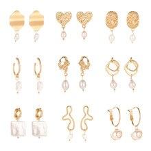 Vintage Gold Freshwater Pearl Drop Earrings For Women 2019 Brincos New Geometric Large Earring Wedding Irregular Fashion Jewelry