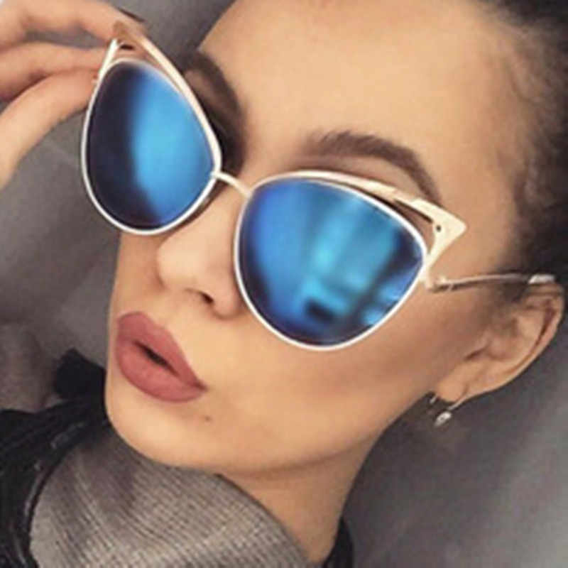 Curtain Gafas De Sol Mujer Sexy Ladies Cat Eye Sunglasses High Fashion Women Vintage Coated Mirror Sun Glasses For Female UV400