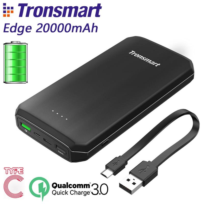 Tronsmart Edge 20000mAh PBT20 Power Bank Quick Charge Powerbank External Portable Phone Battery Charger Black CE FCC RoHS