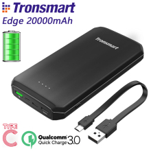 Tronsmart Edge 20000mAh PBT20 Power Bank Quick Charge Powerbank External Portable Phone Battery Charger Black CE FCC RoHS