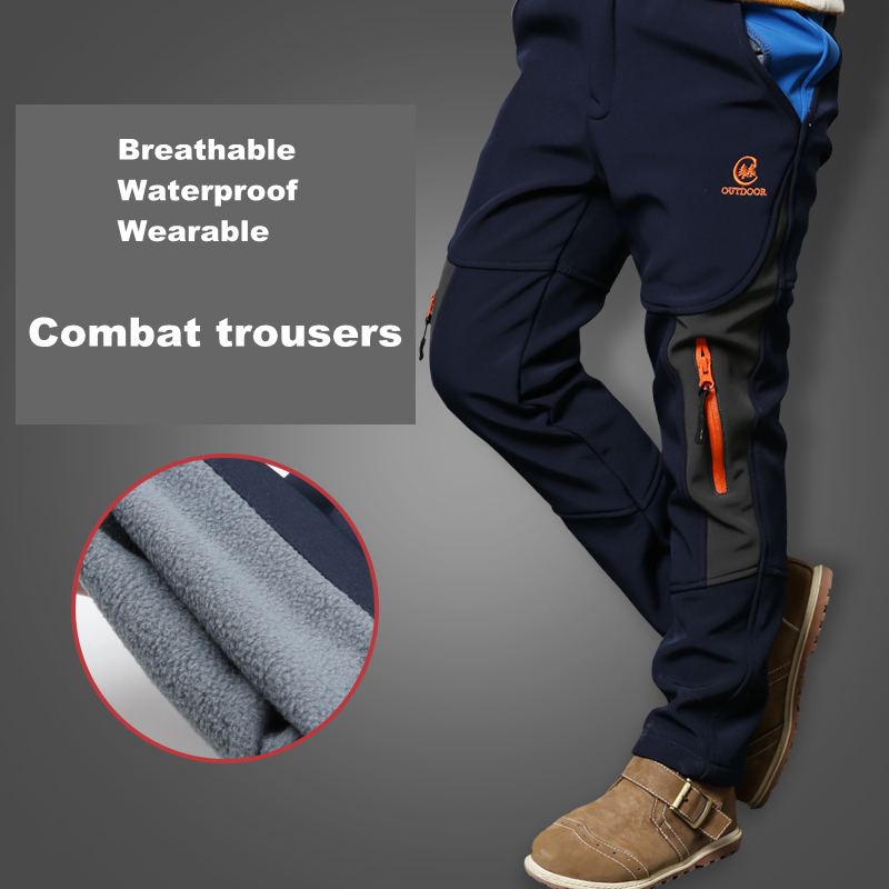 Autumn Boys Winter Pants Climbing Trousers Children Warm Combat Casual Sporty Ski Teenager Waterproof Windproof Pants For Boys