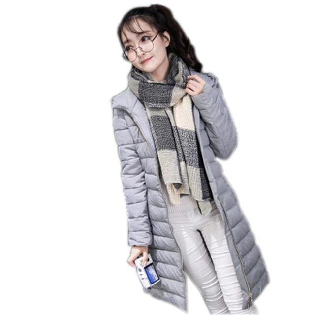 Chaqueta de invierno de las mujeres 2016 mujeres de la manera ocasional parkas prendas de vestir exteriores femenina gruesa encapuchada delgada prendas de vestir exteriores de las mujeres abrigo largo caliente kl526