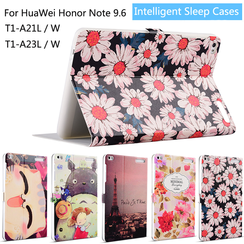 Fashion Painted Flip PU Leather For Huawei Honor Note T1 10 T1-A21W T1-A21L T1-A23W/L 9.6 inch Tablet Smart Case Cover + Stylus flip pu leather case for huawei t1 10 9 6 t1 a21w tablet case for huawei mediapad t1 t1 a21l t1 a23l honor note smart cover