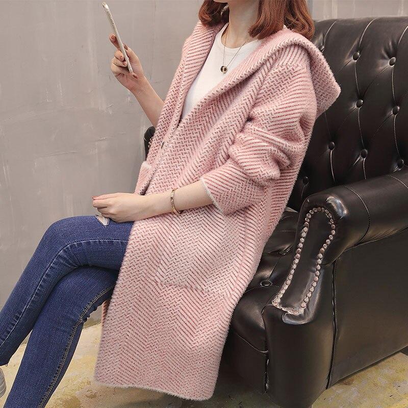Женский осенний свитер, новинка 2018, стильный свободный свитер в Корейском стиле, длинный вязаный кардиган с капюшоном и длинным рукавом для ... - 3