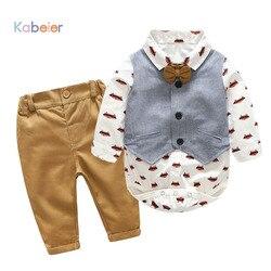 Recém-nascidos Conjuntos de Roupas Menino Cavalheiro Algodão 2018 Outono Moda Primavera Xadrez Macacão + Calça Jeans + Colete Roupas de Bebê 0- 24 m