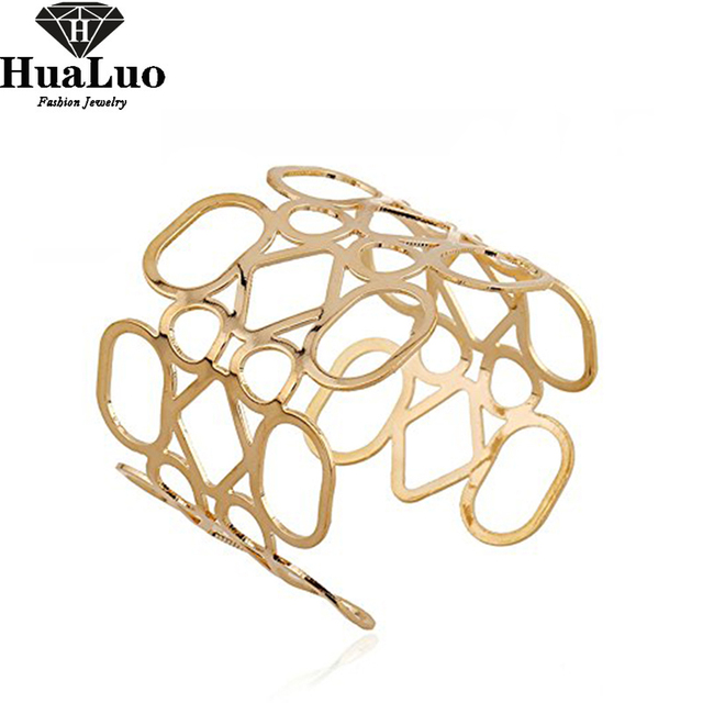 Classic Adjustable Gold Statement Punk Fashion Metal Opening Hollow 0ut Cuff Bracelets & Bangles For Women Men Party Gift B111