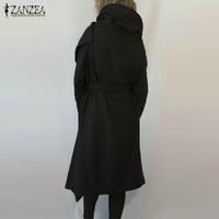 ZANZEA 2017 Autumn Winter Women Wool Blend Hooded Jackets Long Sleeve Shawl Collar Asymmetrical Casual Solid