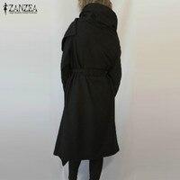 ZANZEA 2018 Autumn Winter Women Wool Blend Hooded Jackets Long Sleeve Shawl Collar Asymmetrical Casual Solid