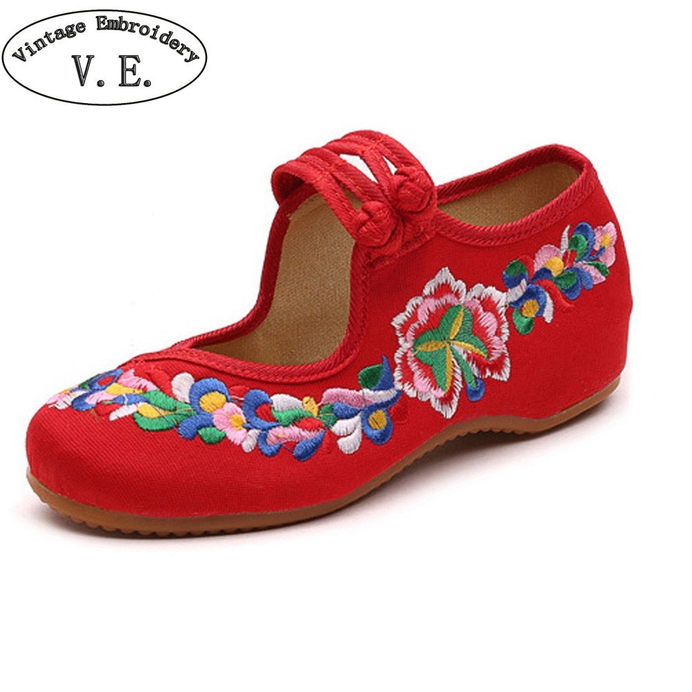 Women Flats Shoes Casual Flat Flower Embroidered Mary Janes Chinese Wedding Bucket Dance Ballet Shoes For Woman Plus Size 41 chinese women flats shoes flowers casual embroidery soft sole cloth dance ballet flat shoes woman breathable zapatos mujer
