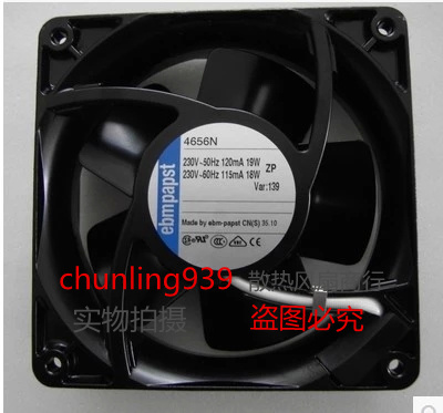 New original ebmpapst 4656N AC220V12038 120 * 120 * 38MM water temperature axial fan4W 80 * 80 * 25 mm PUDC24Z4 inverter fan ebmpapst a6e450 ap02 01 ac 230v 0 79a 0 96a 160w 220w 450x450mm server round fan outer rotor fan