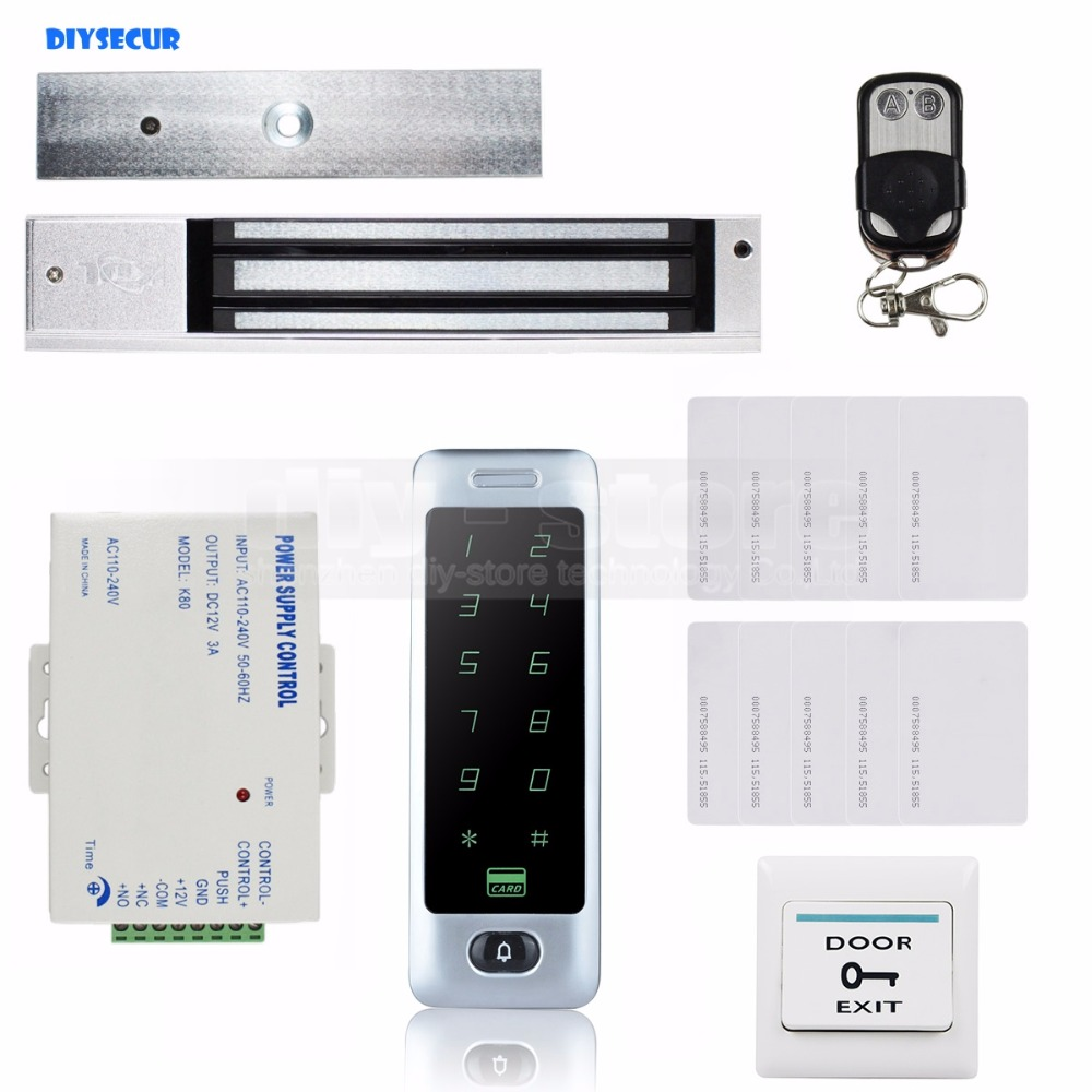 DIYSECUR Magnetic Lock Remote Control 125KHz RFID Reader Password Keypad Door Access Control Security System Kit C40 diysecur 280kg magnetic lock 125khz rfid password keypad access control system security kit exit button k2