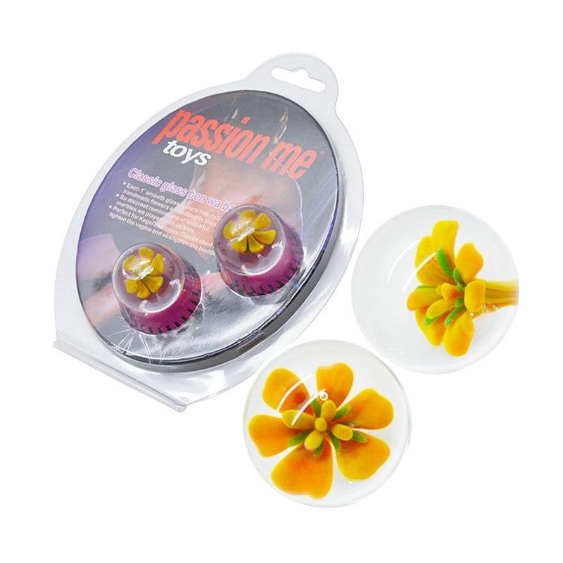 Lovetoy Sophsiticated Floral Glass Giggle Balls Advanced Vagina Trainer Ben Wa Balls -4704