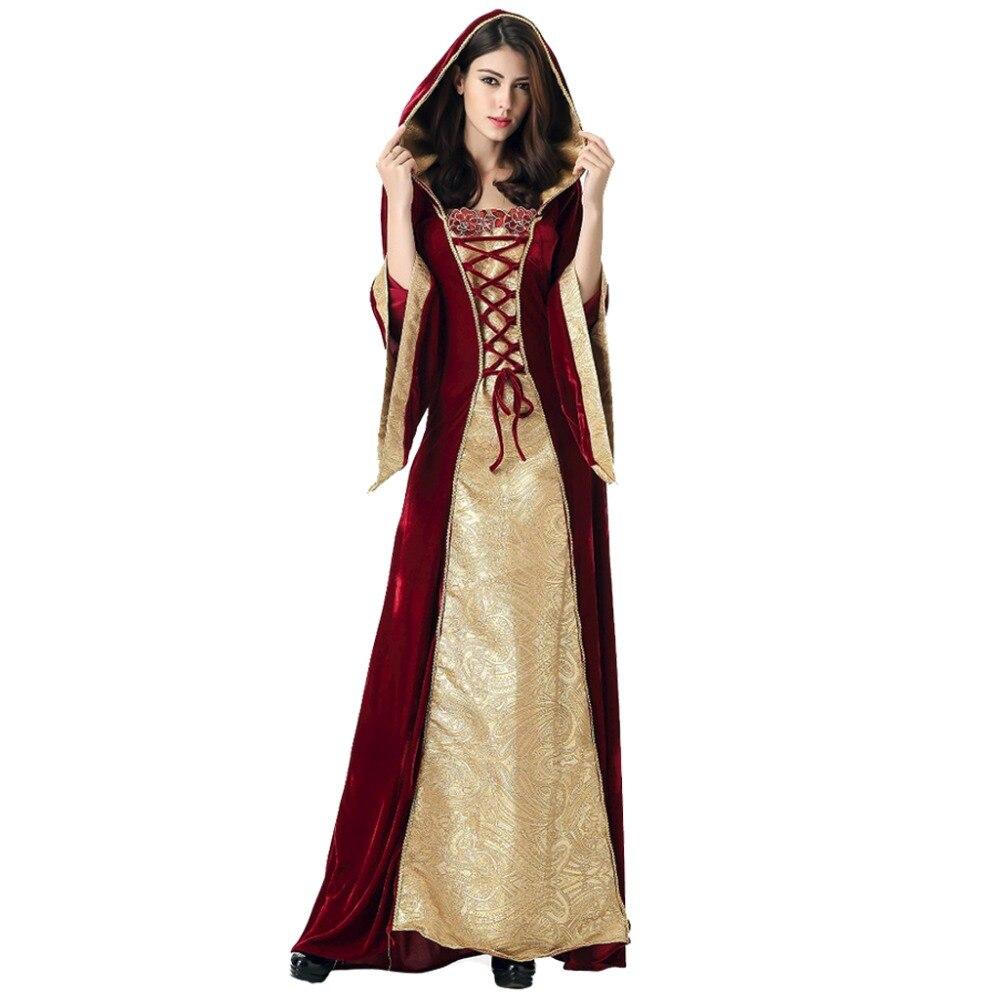 Medieval Dress Robe Women Renaissance Dress Princess Queen Costume Velvet Court Maid Halloween Vintage Hooded Gown for Lady