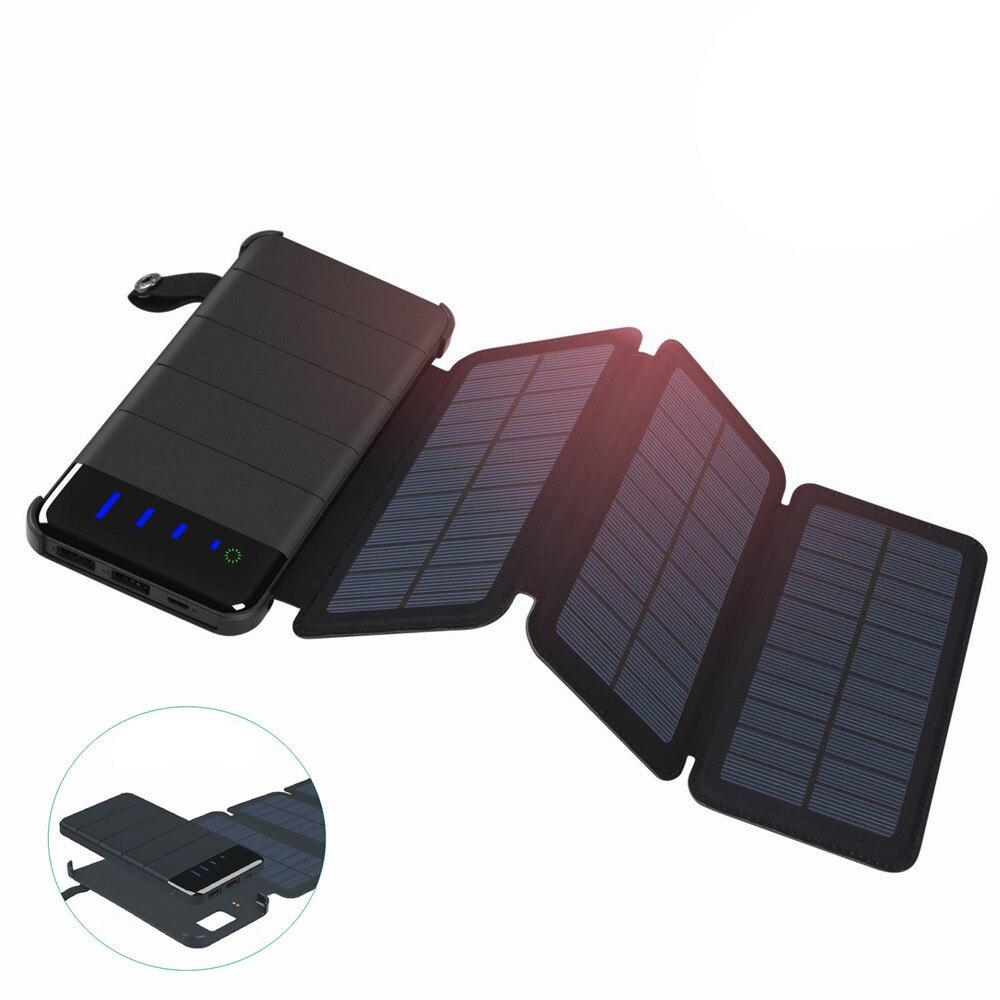 10000 mah Esterno Portatile Pieghevole Pieghevole Impermeabile Caricatore del Pannello Solare Batteria Del Telefono Cellulare Dual USB LED Solare Accumulatori e caricabatterie di riserva