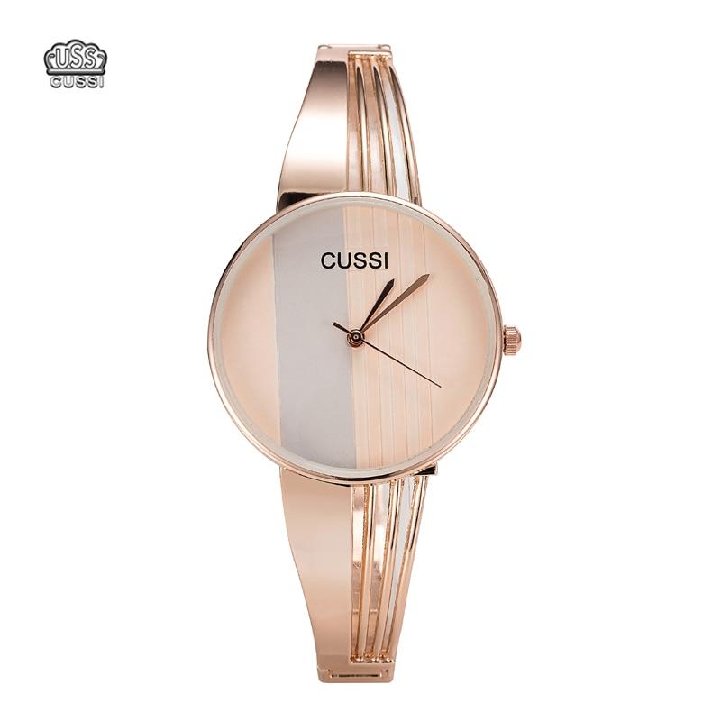 CUSSI Relojes de moda Mujer Pulsera de acero chapado en oro Señoras - Relojes para mujeres